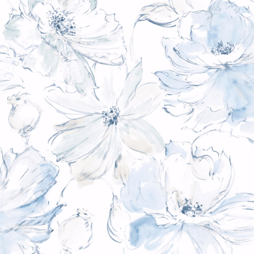 CL2519 York Wallcoverings Impresionist Floral Dreams Wallpaper Blue