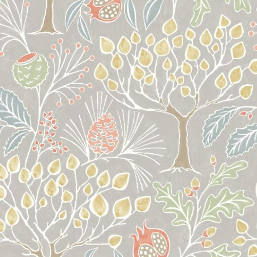 2903-25829 Brewster Wallcoverings A Street Prints Bluebell Shiloh Botanical Wallpaper Light Grey