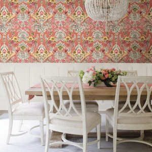 2903-25861 Brewster Wallcoverings A Street Prints Bluebell Vera Floral Damask Wallpaper Pink Room Setting