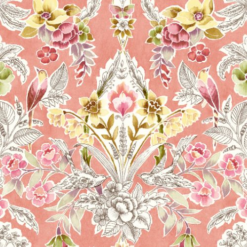 2903-25861 Brewster Wallcoverings A Street Prints Bluebell Vera Floral Damask Wallpaper Pink