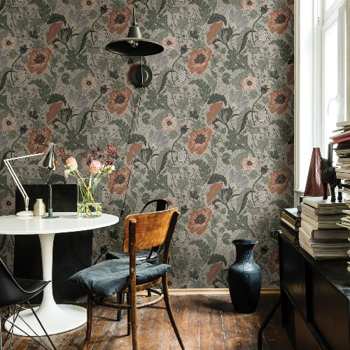 2948-33001 Brewster Wallcoverings A Street Prints Anemone Floral Wallpaper Grey Room Setting