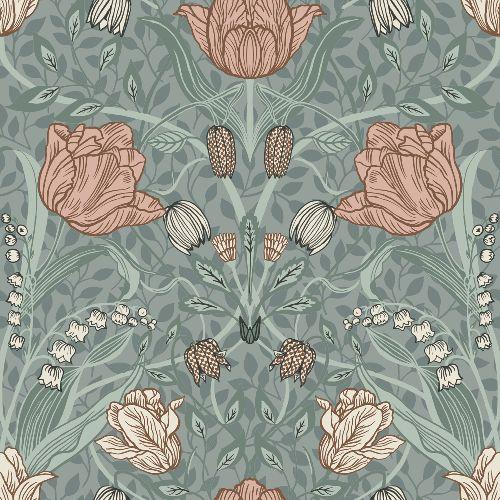 2948-33010 Brewster Wallcoverings A Street Prints Spring Tulipa Floral Wallpaper Sage