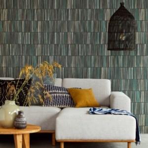 391511 Brewster Wallcoverings Eijffinger Terra Aspen Natural Stripe Wallpaper Dark Green Room Setting