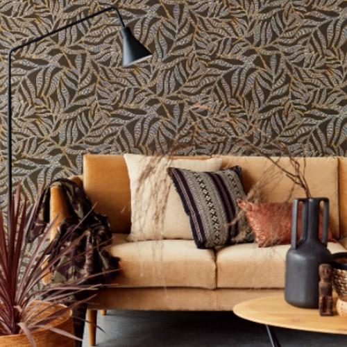 391550 Brewster Wallcoverings Eijffinger Terra Montrose Leaves Wallpaper Brown Room Setting