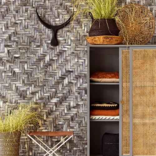 391562 Brewster Wallcoverings Eijffinger Terra Lakewood Weave Repeatable Wall Mural Ebony Room Setting