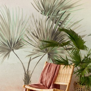 391564 Brewster Wallcoverings Eijffinger Terra Durango Palm Wall Mural Ombre Room Setting Closeup