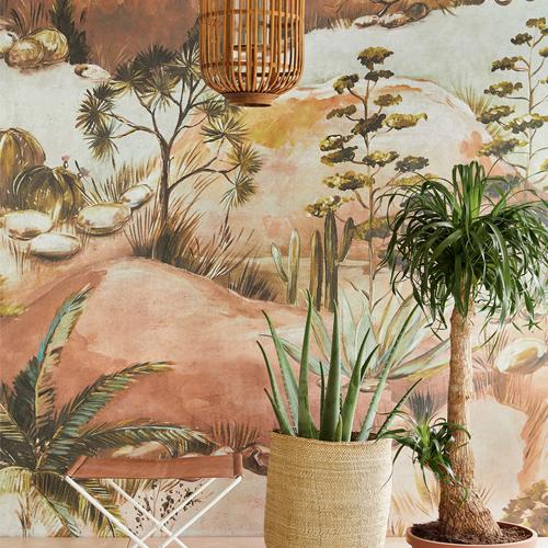 391565 Brewster Wallcoverings Eiffinger Terra Scenic Savanna Wall Mural Earth Room Setting