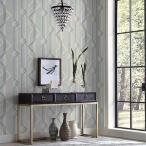 GM7601 York Wallcoverings Geometric Resource Shape Shifter Wallpaper Blue Room Setting