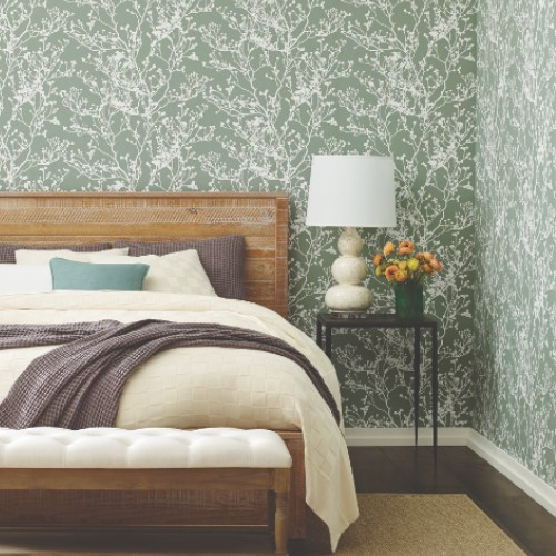 HC7519 York Wallcoverings Ronald Redding Handcrafted Naturals Budding Branch Silhouette Wallpaper Green Room Setting