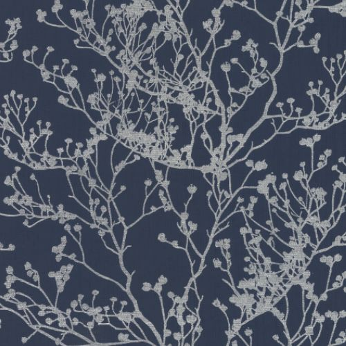 HC7521 York Wallcoverings Ronald Redding Handcrafted Naturals Budding Branch Silhouette Wallpaper Navy