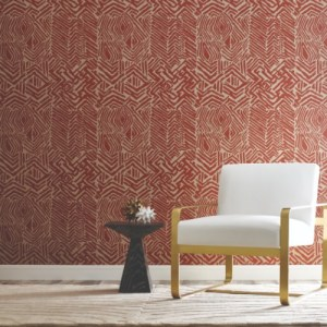 HC7550 York Wallcoverings Ronald Redding Handcrafted Naturals Tribal Print Wallpaper Red Room Setting