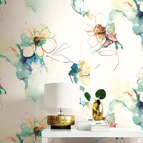 LW50006 Seabrook Wallcoverings Living With Art Abstract Floral Wallpaper Orange Room Setting