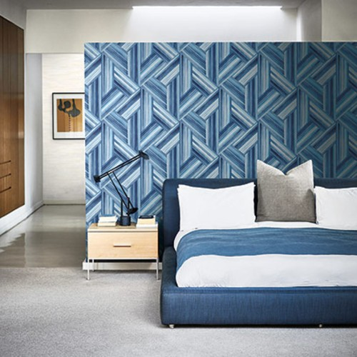 LW50102 Seabrook Wallcoverings Living With Art Woven Geometric Wallpaper Blue Room Setting