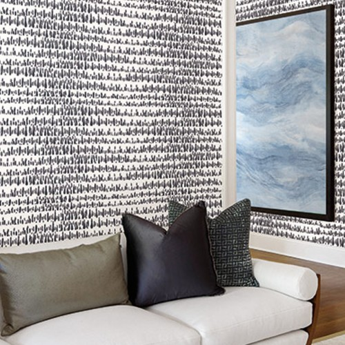 LW51802 Seabrook Wallcoverings Living With Art Paint Drops Wallpaper Black Room Setting
