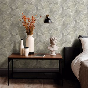 2964-25906 Brewster Wallcoverings A Street Prints Scott Living Karson Swirling Geometric Wallpaper Grey Room Setting