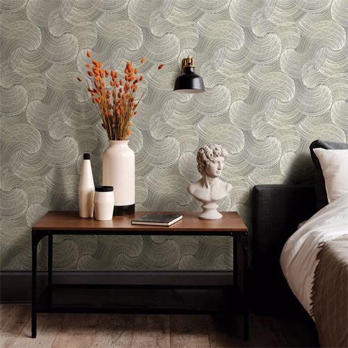2964-25906 Brewster Wallcoverings A Street Prints Scott Living Karson Swirling Geometric Wallpaper Grey Room Setting