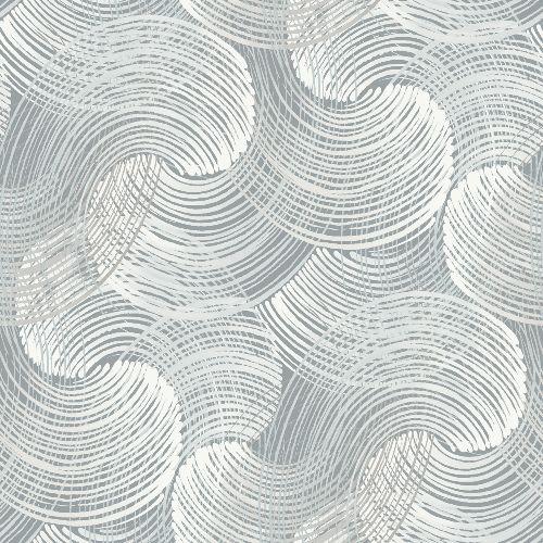 2964-25908 Brewster Wallcoverings A Street Prints Scott Living Karson Swirling Geometric Wallpaper Slate