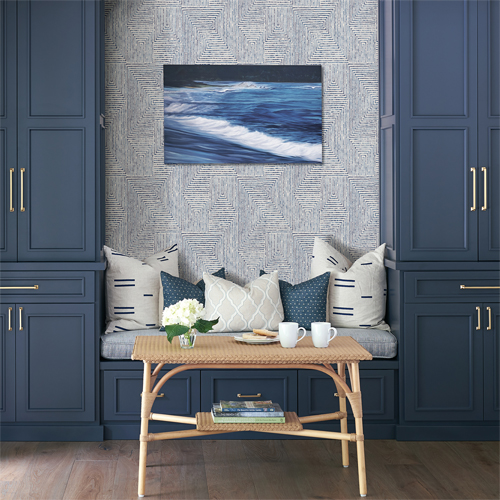 2964-25955 Brewster Wallcovering A Street Prints Scott Living Merritt Geometric Wallpaper Indigo Room Setting