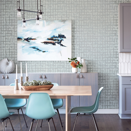 2964-87347 Brewster Wallcovering A Street Prints Scott Living Shea Distressed Geometric Wallpaper Blue Room Setting