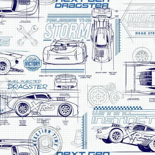 DI0916 York Wallcoverings Disney Kids 4 Disney and Pixar Cars Schematic Wallpaper Blue