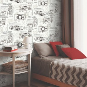 DI0917 York Wallcoverings Disney Kids 4 Disney and Pixar Cars Schematic Wallpaper Neutral Room Setting