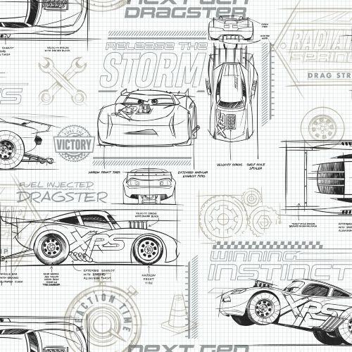 DI0917 York Wallcoverings Disney Kids 4 Disney and Pixar Cars Schematic Wallpaper Neutral