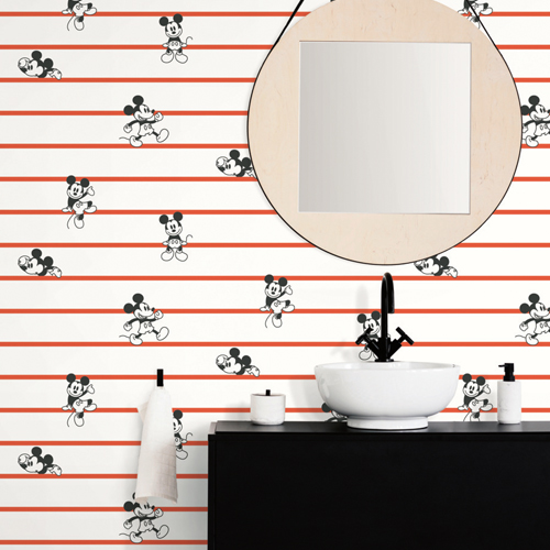 DI0933 York Wallcoverings Disney Kids 4 Disney Mickey Mouse Stripe Wallpaper Red Room Setting