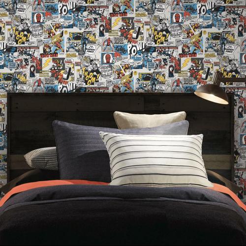 DI0944 York Wallcoverings Disney Kids 4 Marvel Comics Pow Wallpaper Multi-Color Room Setting