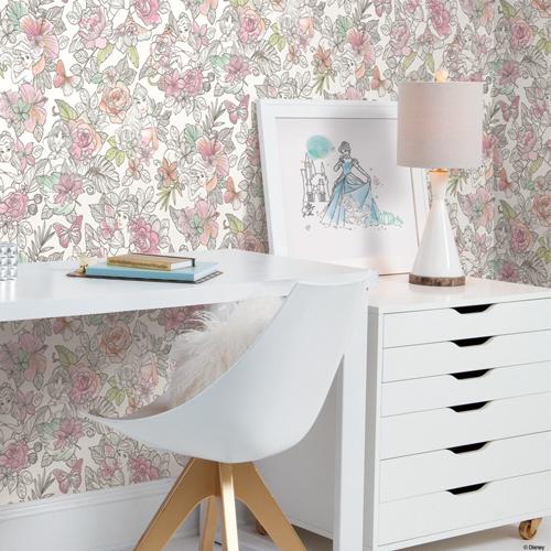 DI0966 York Wallcoverings Disney Kids 4 Disney Princess Royal Floral Wallpaper Coral Room Setting