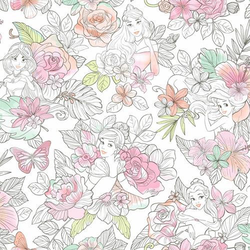 DI0966 York Wallcoverings Disney Kids 4 Disney Princess Royal Floral Wallpaper Coral