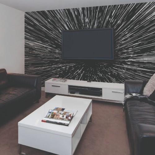 RMK11412M York Wallcoverings Disney Kids 4 Star Wars Hyper Space Peel and Stick Mural Room Setting