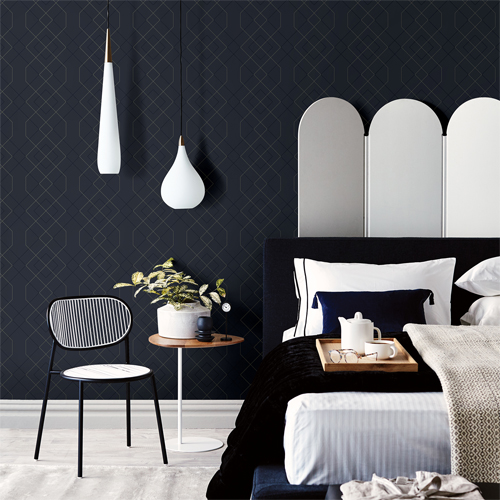 2964-25913 Brewster Wallcovering A Street Prints Scott Living Ballard Geometric Wallpaper Indigo Room Setting
