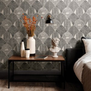 2964-25928 Brewster Wallcoverings A Street Prints Scott Living Westport Geometric Wallpaper Charcoal Room Setting