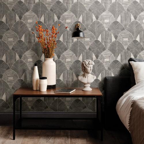 2964-25928 Brewster Wallcoverings A Street Prints Scott Living Westport Geometric Wallpaper Charcoal Room Setting