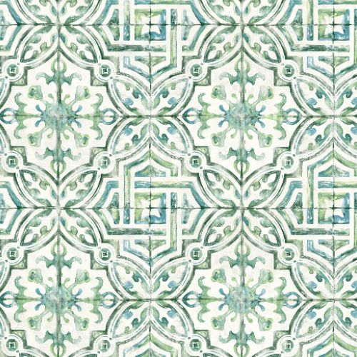 3120-12338 Brewster Wallcoverings Chesapeake Sanibel Sun Kissed Collection Sonoma Beach Tile Wallpaper Green