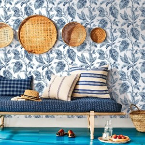 3120-13625 Brewster Wallcoverings Chesapeake Sanibell Sun Kissed Collection Mangrove Botanical Wallpaper Blue Room Setting