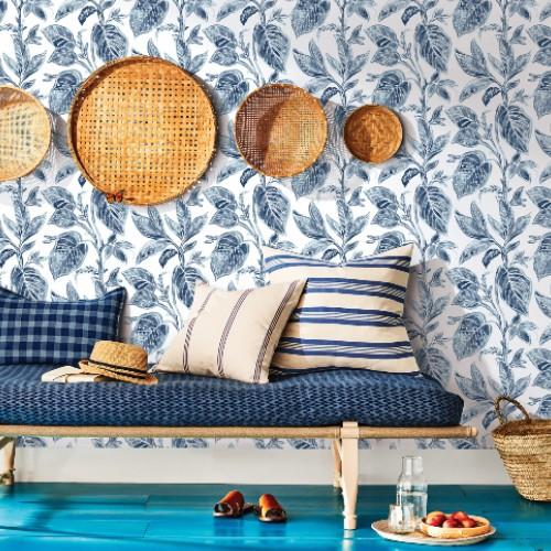 3120-13625 Brewster Wallcoverings Chesapeake Sanibell Sun Kissed Collection Mangrove Botanical Wallpaper Blue Room Setting