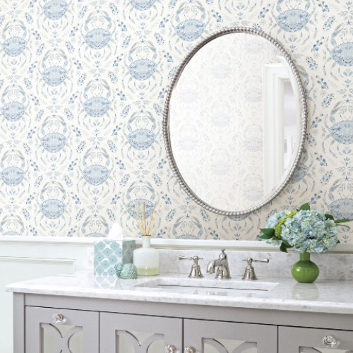 3120-13644 Brewster Wallcoverings Chesapeake Sanibel Sunk Kissed Collection Annapolis Crustation Wallpaper Light Blue Room Setting