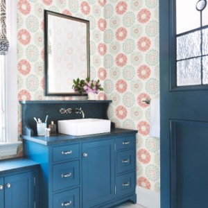 3120-13701 Brewster Wallcoverings Chesapeake Sanibel Sun Kissed Collection Sunkissed Floral Wallpaper Coral Room Setting