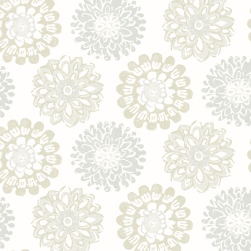 3120-13703 Brewster Wallcoverings Chesapeake Sanibel Sun Kissed Collection Sunkissed Floral Wallpaper Light Grey