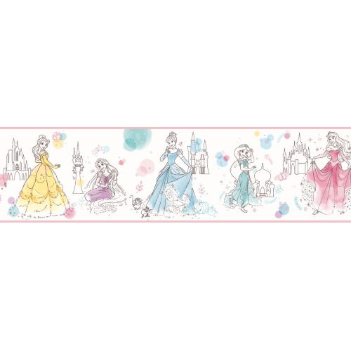 DI1021BD York Wallcoverings Disney Kids 4 Disney Princess Pretty Elegant Border Pink