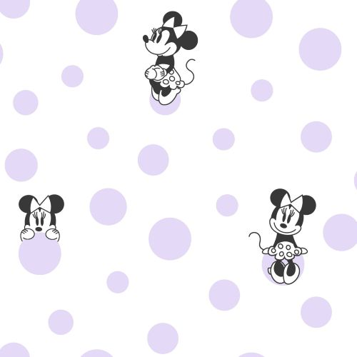 DI1028 York Wallcoverings Disney Kids 4 Disney Minnie Mouse Dots Wallpaper Purple