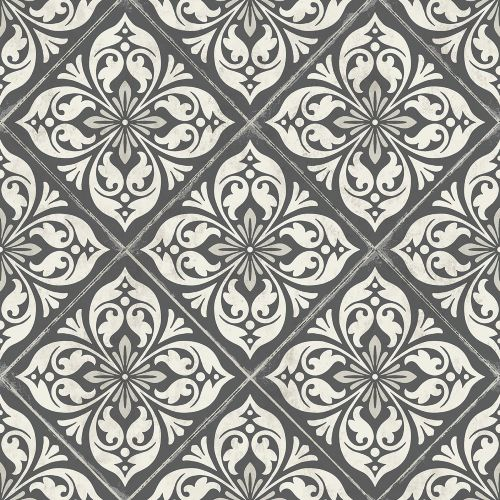 LN11000 Seabrook Wallcoverings Lillian August Plumosa Tile Wallpaper Ebony
