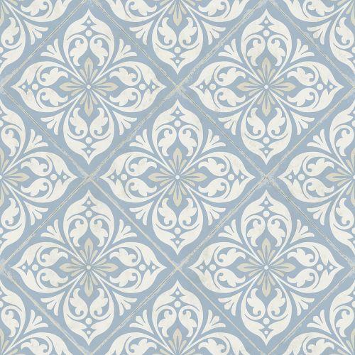 LN11002 Seabrook Wallcoverings Lillian August Plumosa Tile Wallpaper Carolina Blue