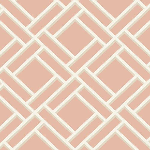 LN11501 Seabrook Wallcoverings Lillian August Luxe Retreat Block Lattice Wallpaper Melon