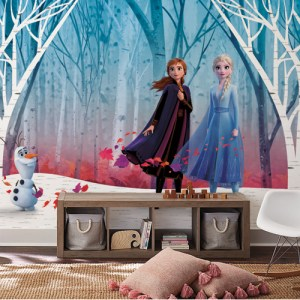 RMK11415M York Wallcovering Disney Kids 4 Disney Frozen 2 Woodland Tree Peel and Stick Mural Room Setting