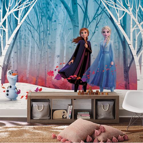RMK11415M York Wallcovering Disney Kids 4 Disney Frozen 2 Woodland Tree Peel and Stick Mural Room Setting