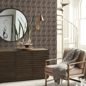 83600 York Wallcoverings Urban Oasis Nexus Wallpaper Mink Taupe Room Setting