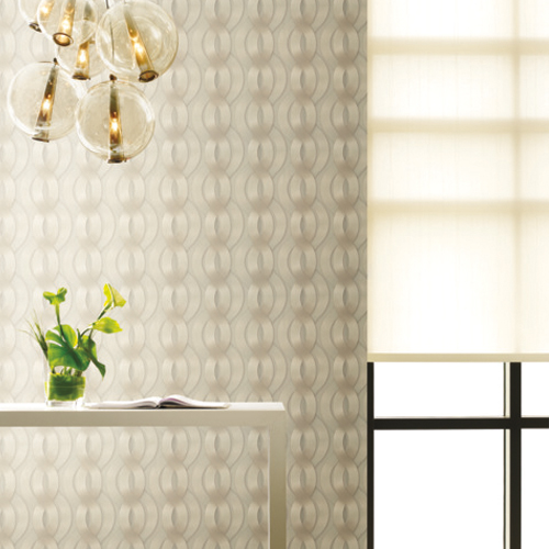 83607 York Wallcoverings Urban Oasis Nexus Wallpaper Greige Room Setting