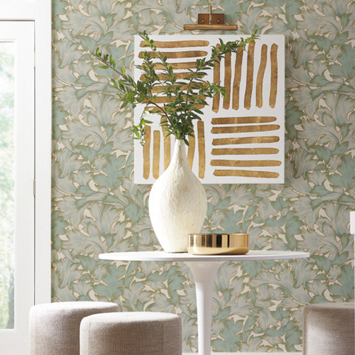 NV5511 York Wallcoverings Modern Heritage: Designed to Inspire 125th Anniversary Edition Acanthus Toss Wallpaper Seafoam Room Setting